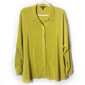 Eileen Fisher Yellow Silk Button Down Top